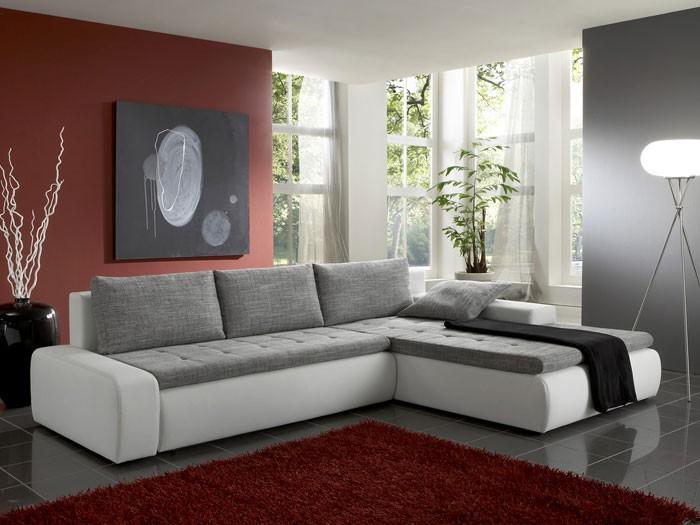 ecksofa alisa 300x210cm webstoff wei schwarz kunstleder wei couch - Schwarz Wei Sofa